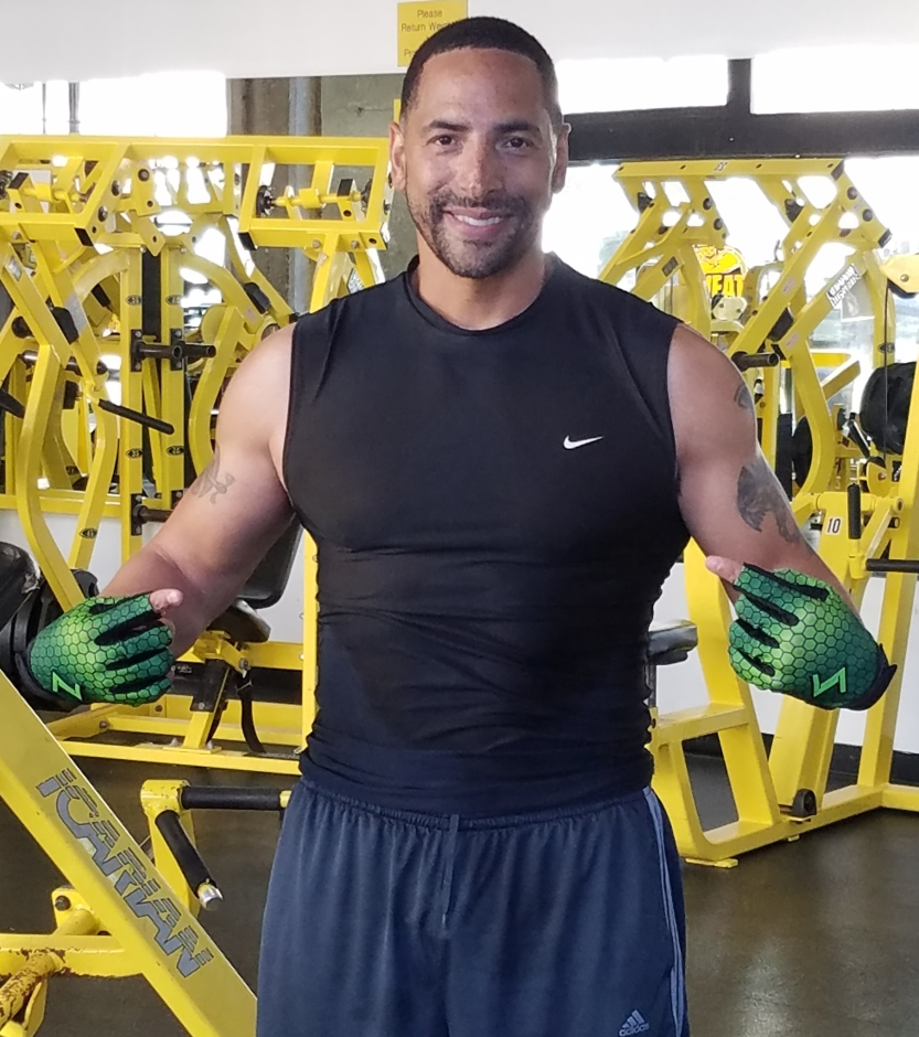 handlez gym gloves green adidas yellow nike black strong muscles smile handsome workout fitness man sexy sweat