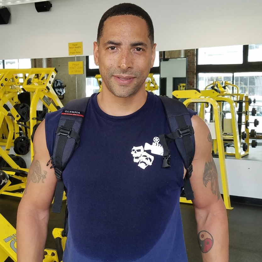 david m raine gym sweat muscles actor model metal tattoos strong handsome